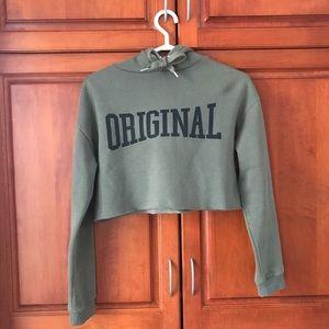Original short khaki green cropped H&M hoodie